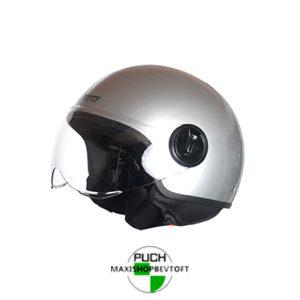 EXTRA LARGE Retro Hjelm i sølv metallic med klar visir