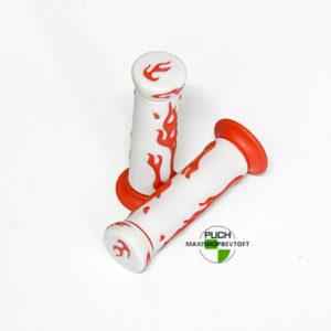Gummi håndtag hvid med rød flamme til PUCH Maxi