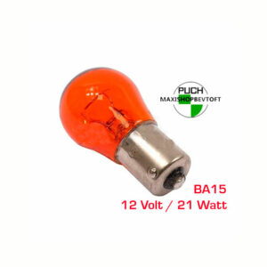 Orange Pære BA15 12 Volt / 21 Watt