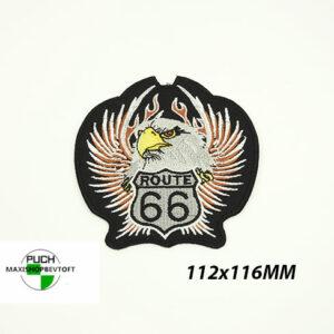 Stofmærke 112x116mm ROUTE 66 EAGLE