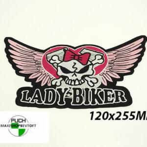 STORT Stofmærke 120x255mm LADY BIKER
