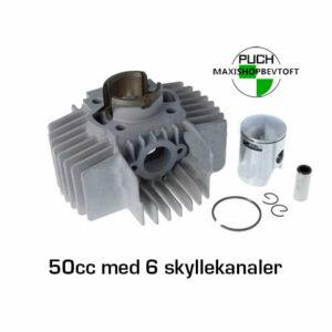 Cylinder 50cc med 6 skyllekanaler til PUCH Maxi